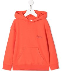 bonpoint stitched logo hoodie - orange
