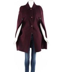 louis vuitton purple wool angora buttoned cape purple sz: s