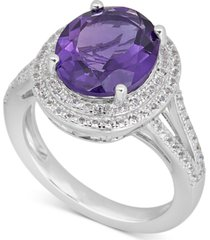 amethyst (5-1/2 ct. t.w.) & white topaz (1 ct. t.w.) statement ring in sterling silver