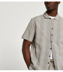 river island mens beige check short sleeve shirt
