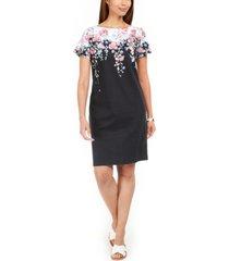 karen scott petite wisteria boat-neck dress, created for macy's