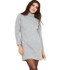 sweater vestido cuello beatle acanalado gris nicopoly