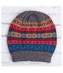 100% alpaca hat, 'multicolored inca' (peru)
