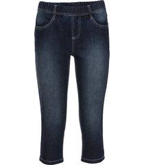 bekväma jeansleggings i caprimodell