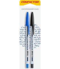 caneta esferográfica compactor top 2000 1.0mm azul e preta com 2 unidades