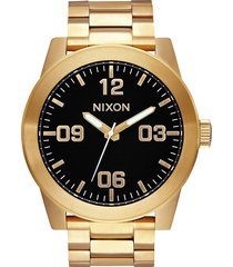 nixon 'the corporal' bracelet watch, 48mm in gold/black at nordstrom