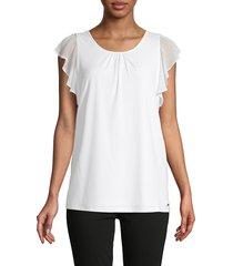 calvin klein women's ruffle flutter-sleeve top - soft white - size s