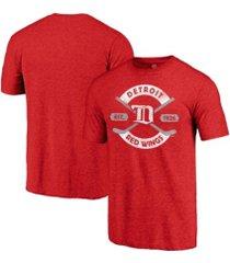 majestic detroit red wings men's tri-blend crease t-shirt