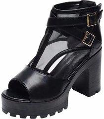 sandalias de plataforma peep toe para mujer sandalias con doble hebilla con
