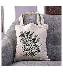 cotton shoulder bag, 'ferny frond in sage' (india)