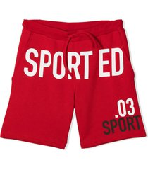 dsquared2 text-print track shorts