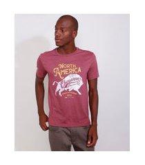 "camiseta masculina manga curta north america"" gola careca vinho"""