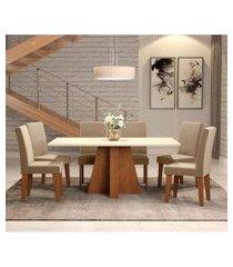 conjunto de mesa de jantar com 6 cadeiras estofadas amanda suede off white e joli