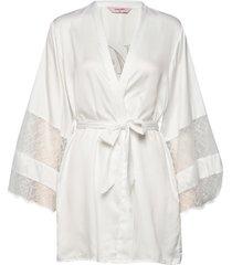 kimono satin insert lace mrs morgonrock vit hunkemöller