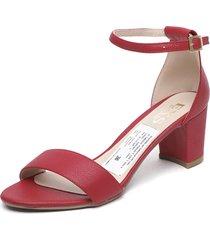 sandalia cuero rojo exs