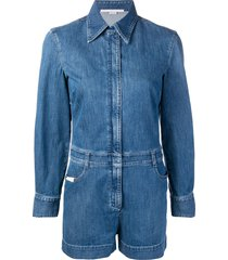 stella mccartney slim-fit denim playsuit - blue