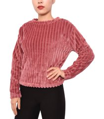 planet gold juniors' ribbed faux-fur top