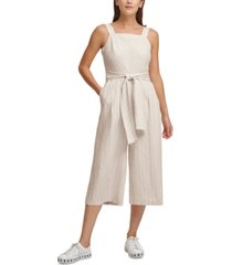 dkny striped belted wide-leg jumpsuit