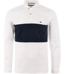 lacoste oxford rugby shirt - white & navy ch4862-522