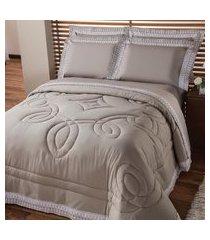 jogo de cama king plumasul luxury percal 230 fios 4 peças cáqui