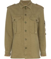 saint laurent embellished military shirt - green