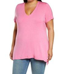 plus size women's halogen v-neck t-shirt, size 1x - pink
