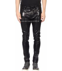 casual men leather pant genuine real leather trouser men biker leather pant-us13