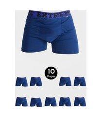 kit 10 cueca imi lingerie boxer em microfibra lisa estilo azul marinho