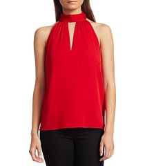 emma silk choker-neck tie top