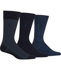 men's polo ralph lauren assorted 3-pack bird's eye socks, size one size - blue