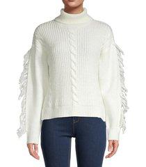 21 main women's fringe-sleeve sweater - ivory - size xl