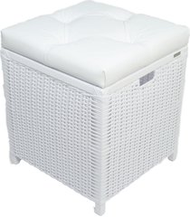 cesto puff ba㺠organizador roupa fibra sintetica 40x40x48 - branco - estampado - feminino - dafiti