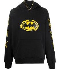 mjb marc jacques burton long sleeve distressed batman logo hoodie -