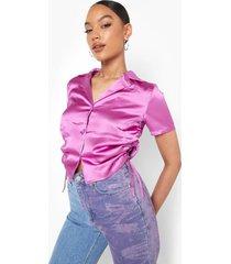 korte geplooide satijnen blouse, jewel purple