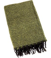 native yoga solid color woven blanket olive green cotton