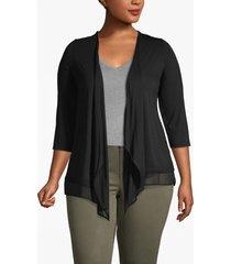 lane bryant women's open-front cardigan - chiffon trim 22/24 black