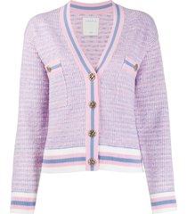 sandro paris cropped tweed effect cardigan - pink