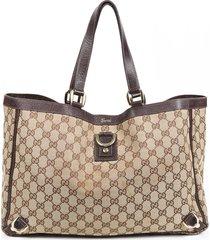 gucci small abbey brown gg canvas tote bag brown/monogram sz: m
