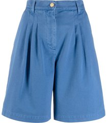 alberta ferretti wide leg denim shorts - blue