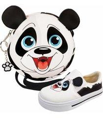 kit infantil bolsa + tênis panda, magicc kids feminino - feminino