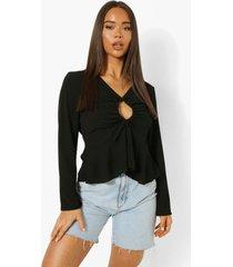 blouse met lange mouwen en o-ring detail, black
