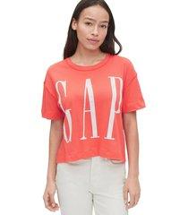 camiseta coral-blanco gap