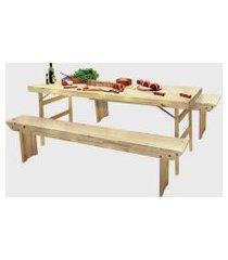 conjunto mesa e bancos tramontina  dobráveis naturalle em madeira pinus com acabamento verniz 2000 mm