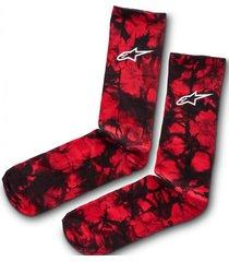 calcetin tie dye crew sock rojo alpinestars