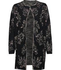 knitted jacket long 1/1 sleeve stickad tröja cardigan svart betty barclay