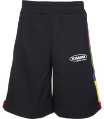 palm angels man black capsule sports bermuda with multicolored bands