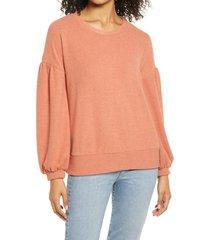 women's everleigh balloon sleeve sweatshirt, size x-large - orange