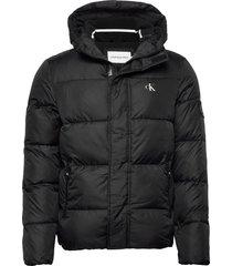 hooded puffer jacket fodrad jacka svart calvin klein jeans
