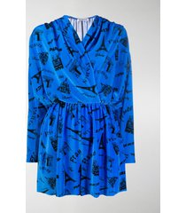 balenciaga paris print velvet mini-dress