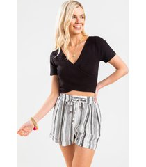 joie striped front tie shorts - white